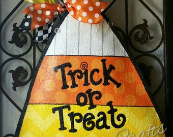 Halloween Burlap Door Hanger Decoration