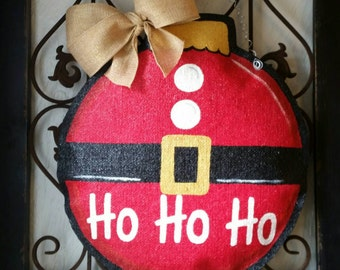 Christmas Santa Suit Ornament Burlap Door Hanger Decoration