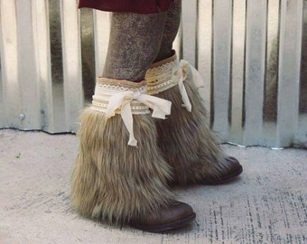 McKinley boot cuffs..  Pink PomPon .. Fur boot covers, fur boot cuffs, fur leg warmers, wolf costume, toddler fur boots, baby fur boots