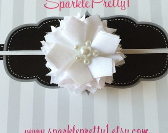 Beautiful white fabric flowered headband with pearl accents