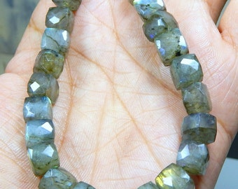 Labradorite Faceted 3D Cube Shape Beads 8x9 mm Approx Wholesale Price 100% Natural Top Quality  New Arrival