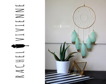 """8"""" Chic Boho Hippe Gold, White, and Mint Green Unique Chic Dreamcatcher"""