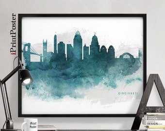 cincinnati poster cincinnati print cincinnati skyline ohio watercolour print wall art - Home Decor Cincinnati
