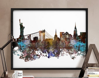 New York city, New York poster, New York city print, NYC, abstract, skyline, wall art, home decor, city prints, travel poster, iPrintPoster