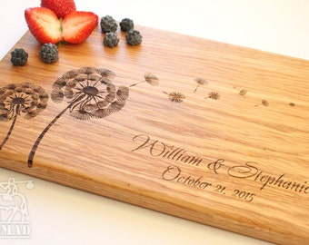 Personalized Cutting Board Dandelions Wedding Gift Custom Wood Cutting Board Personalized kitchen Bridal Shower Gift Anniversary Gift