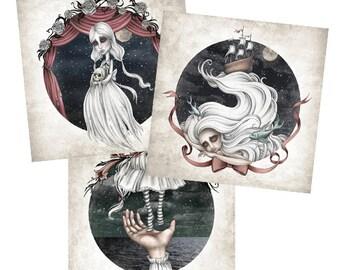 Set of three mini prints