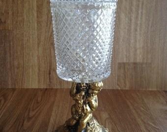 Hollywood Regency Crystal Vanity Dresser Jar on Golden Cherub Putti Metal Base