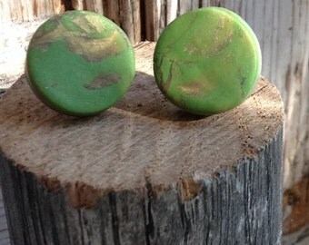 Green and gold  polymer clay stud earrings.