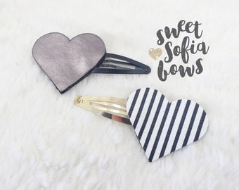 Heart Snap Clips, Snap Clip Set, Monochromatic Clips, Hair Clips