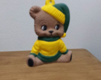 Ceramic Green and Gold Teddy Bear Ornament (#488)