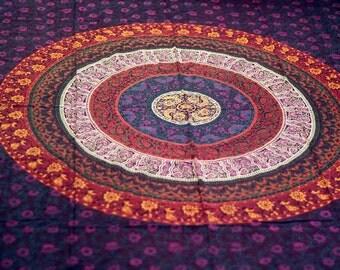 Evening Mantra: Multicolor Bohemian Mandala Indian Tapestry