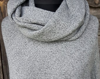 Knitted gray poncho, asymmetrical poncho, knitted shawl, knit cape, knitted capelet, women poncho, modern clothing.