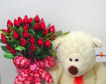 Happy Valentine's Day - Red Hershey Kiss Roses with Bear- Three Dozen