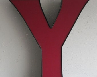 Channel Sign Letter Capital 'Y' in red/purple with Black Trim