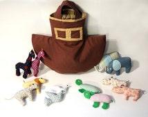 Noah's Ark toys bag Ark tote plush stuffed animals elephants doves turtles lions giraffes hippos baby shower gift boat children toys