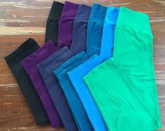 Women's Leggings - Capri Length Leggings - Cotton Leggings - Colorful Leggings - Women's Clothing - Ladies Leggings