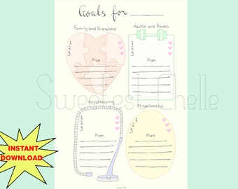 Cute Printable A5 Page - Monthly Goals - Yearly Goals - Goal Journal - Goal Setting - Printable Planner Page - Planner Insert- Health Goals