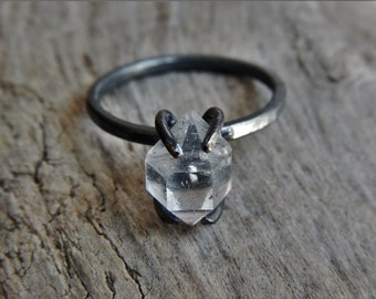 Herkimer Diamond and Oxidized Silver Ring - Blackened Silver Ring - Crystal Engagement Ring - Raw Stone Rings - Goth Engagement Ring
