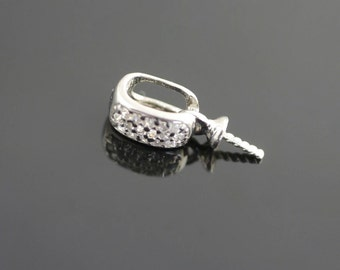 Sterling Silver Enhancer set with Cubic Zirconias and 3mm cup.