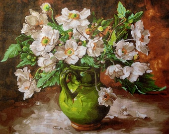 """Gobelin Tapestry Needlepoint Kit """"Flowers"""" hand embroidery printed canvas 577"""