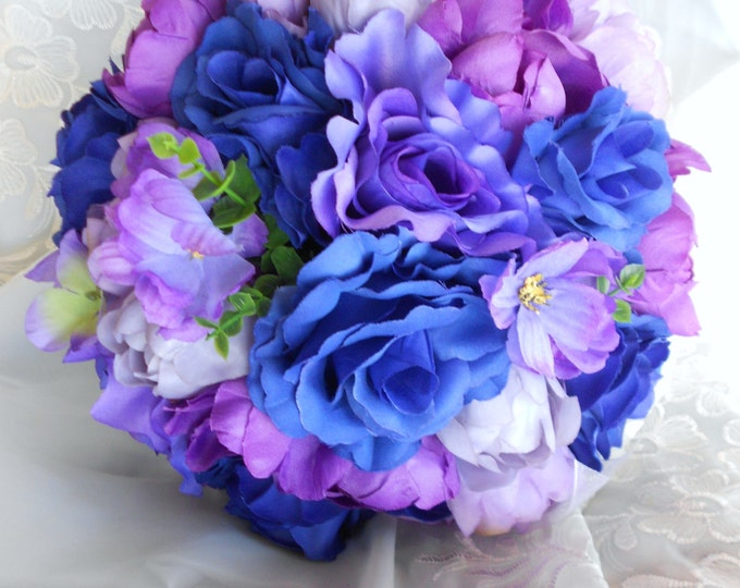 Silk Bride bouquet royal blue and purple made of  roses, hydrangeas, and  peonis 2 pieces