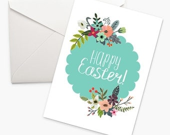8x10 5x7 Easter card, Printable Easter card, Happy Easter Gift, Floral Easter card, Easter Greeting Card, Mint, Digital Download