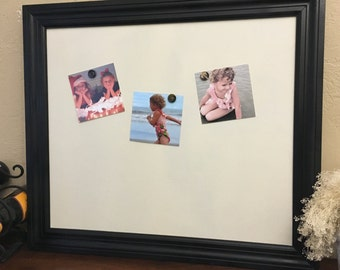 """20x26"""" Magnetic Message Board, Natural Linen, Wood Frame, Office, Photo Display, Picture Frame, Linen, Burlap, Bulletin, Memo"""