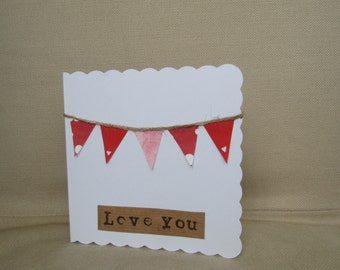 Love You Bunting Card Valentine's Day