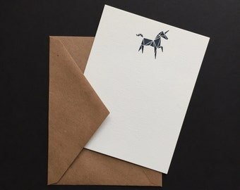 Unicorn Notecards & Envelopes - Letterpress Flat - 5pk