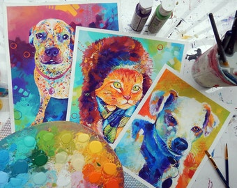 Commission - Colorful Animal Portrait *FREE SHIPPING*
