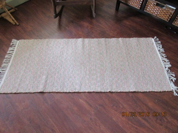 Woven Rag Rug Made On Antique Floor Loom Rosie Pink And