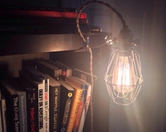 Vintage Industrial Style Clamp Light with Cloth Covered Cord, Edison Lamp, Vintage Lighting, Industrial Lighting, Clamp Light, Vintage Lamp