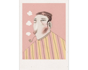 Portrait of a man smoking his Pipe - Poster (286 x 439 mm)