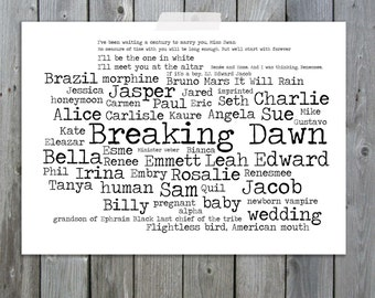 Breaking Dawn Twilight Series Word Art Typography Art Print A4