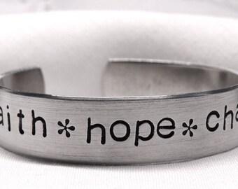 faith hope charity bracelet, Catholic bracelet, handstamped jewelry, faith hope charity hand stamped bangle, aluminum, Christian bracelet