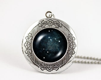 Leo constellation zodiac necklace · personalized locket · Astrology · Handmade · zodiac sign · gifts for her · star signs · horoscope Active
