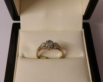 9ct Diamond & Aqaumarine Ring Size H