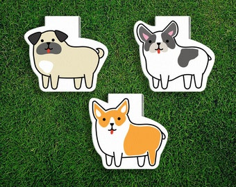 Magnetic Bookmark Set | Dog Magnet Cute Book Bookmarks Pack of 3, Magnetic, Cute, Quirky, Kawaii, Corgi, French Bulldog, Pug, Puppies