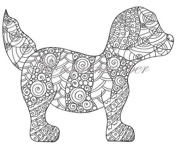 Puppy Coloring Page Adult Coloring Instant by wordsremember