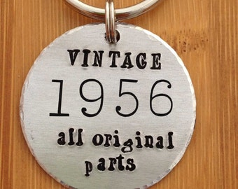 Vintage All Original Parts - Any Year - Hand Stamped Keychain - Birthday Gift - Over the Hill - Anniversary