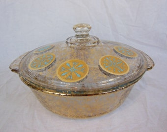 Vintage Fire-King Casserole Designed by Georges Briard - Atomic Style - Gold and Aqua - 2 Quart
