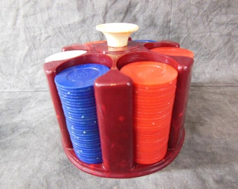 Bakelite Poker Chip Holder and Poker Chips