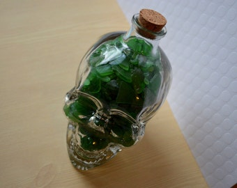 Sea Glass Decor, Glass Skull Filled w/ Authentic Green Sea Glass, Beach Glass Found in Rhode Island, Genuine sea glass found on RI shores
