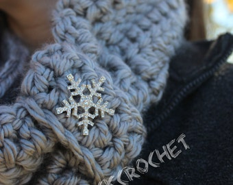 READY TO SHIP Grey scarf with sparkly snowflake