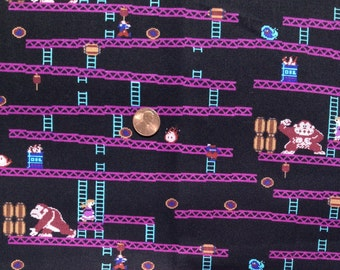 DONKEY Kong Print ~  100% Cotton Fabric FQ/Fat QUARTER, for Quilting and Crafts ~ Springs