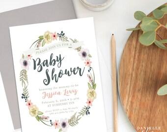 Whimsical Garden Baby Shower Invitation (DIGITAL FILE)