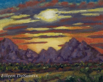 Tucson Mountains Sunset Painting, Southwestern Landscape Painting, Purple mountains, Wall Decor,SFA