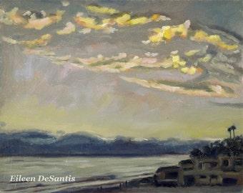 Beach Sunset Painting, Moonlight Beach, Encinitas Painting, Ocean Painting, Seascape Painting, Wall decor, SFA, Impressionism