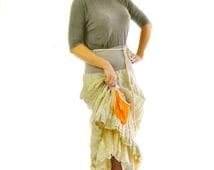 Handmade beige skirt/ Layered Skirt /Woman cotton skirt/Beige long skirt/Extravagant Sexy Skirt/ Ruffled beige Skirt orange pocket/S1289