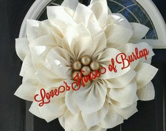 Christmas wreath, poinsettia wreath,  Holiday wreath, Burlap flower, Burlap wreath,  Flower wreath, Holiday decor, Christmas decor